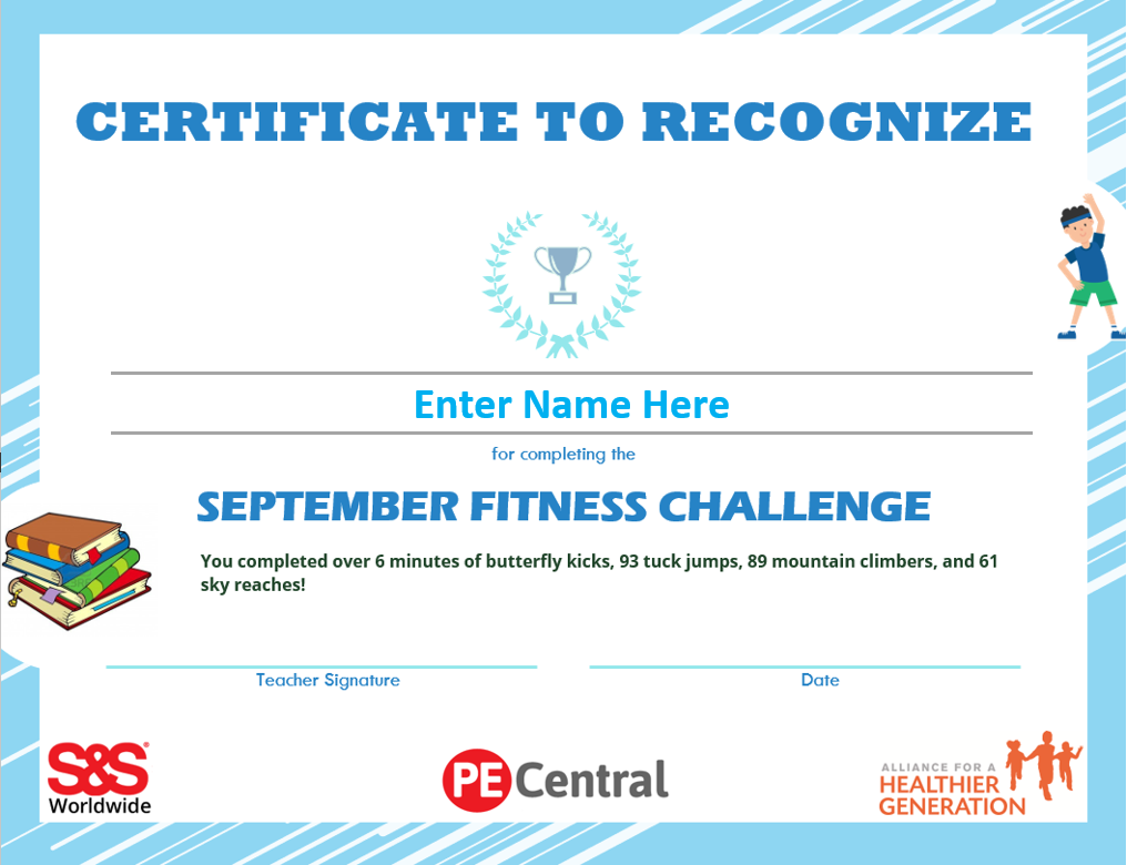 September printable fitness challenge award
