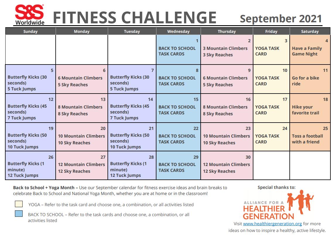 Spetember 2021 Fitness Challenge Calendar