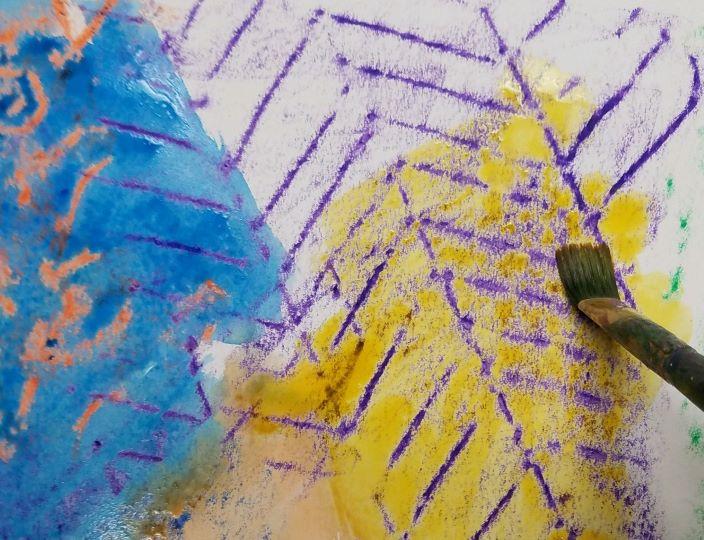 Watercolor Complementary Color Crayon Resist Activity