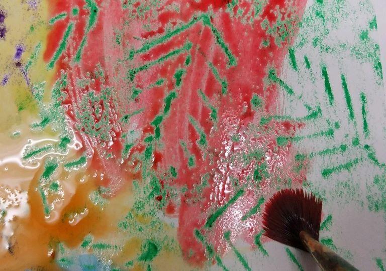 Watercolor Crayon Resist Complimentary Color Activity