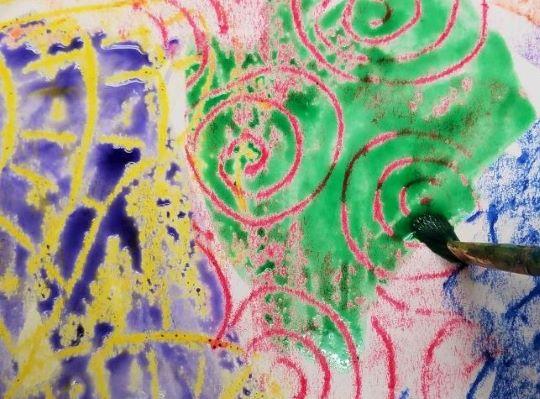 Watercolor Wash Crayon Resist Art Activity