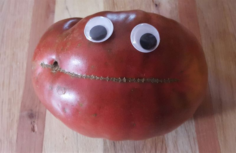 Wiggly eye happy tomato