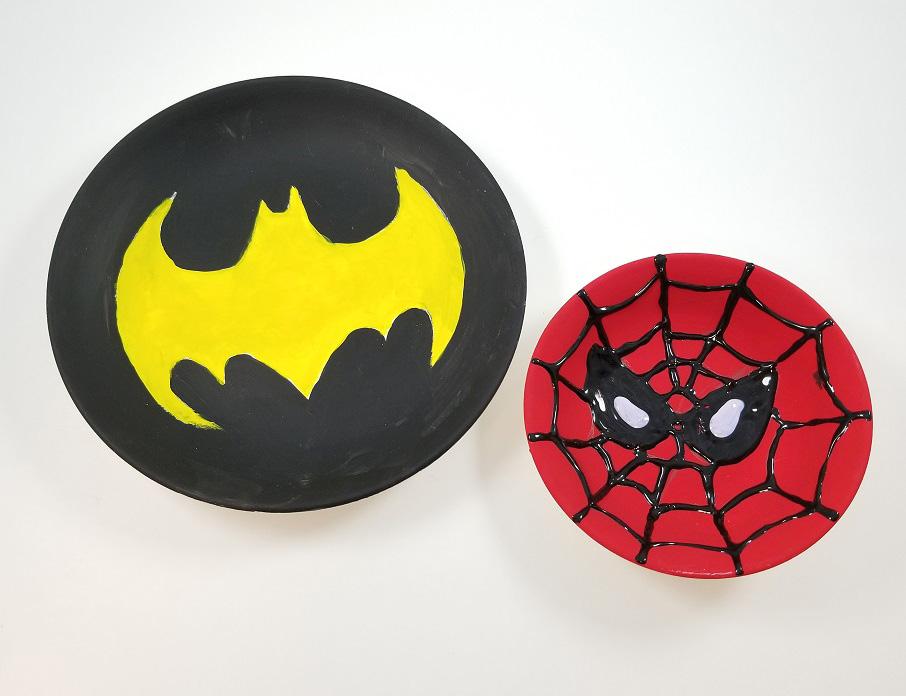 batman spiderman plate