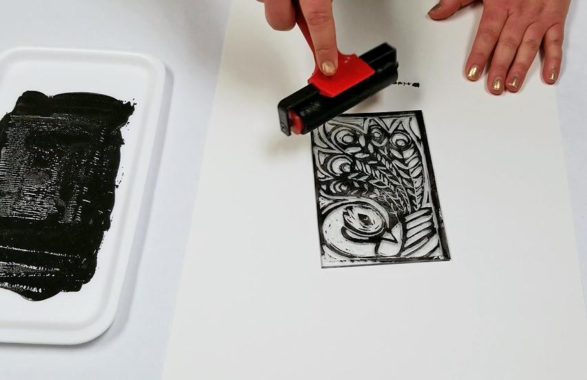 block printing linoleum