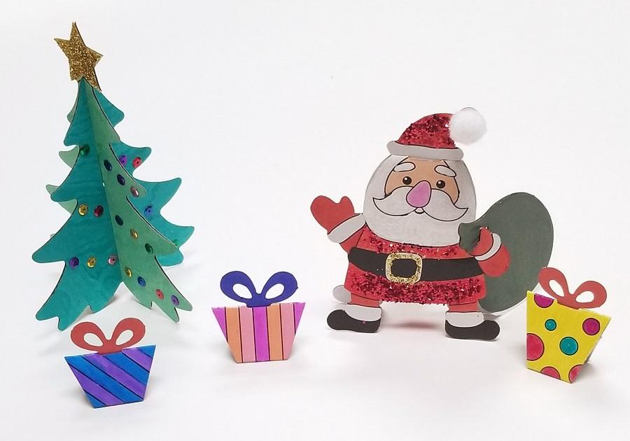 christmas santa and tree craft