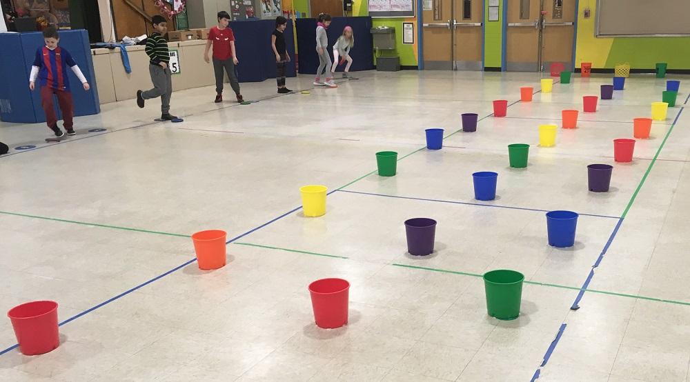 colorful bucket PE activity