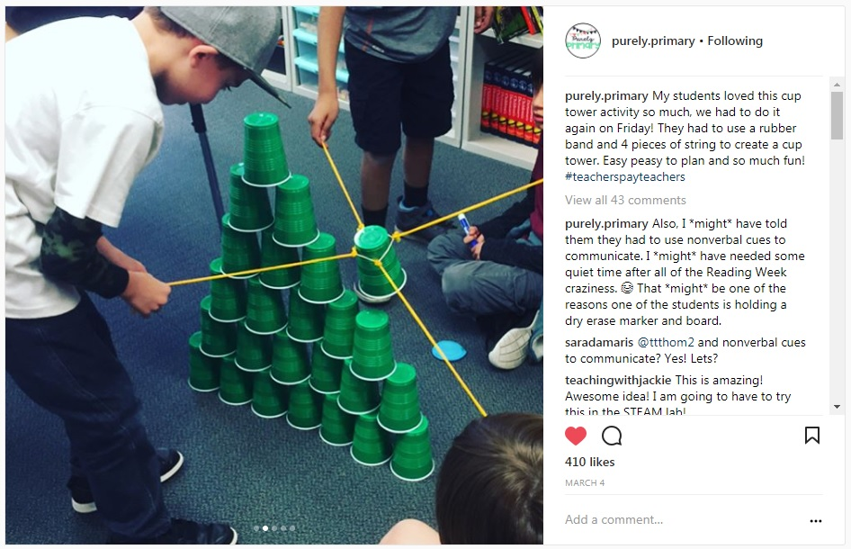 STEAM activity in PE Stacking Cups