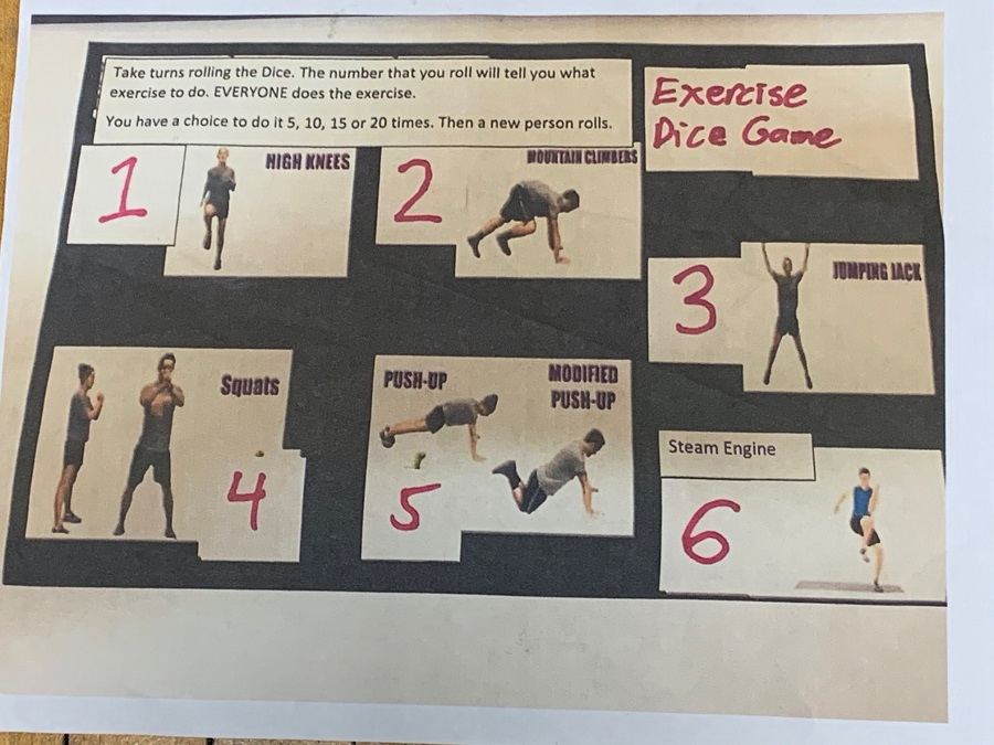 exercise dice game card