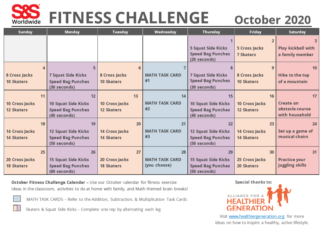 fitness challange calendar october 2020