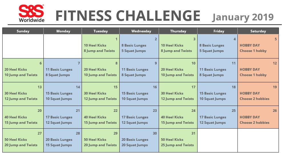 January Printable Fitness Challenge Calendar - S&S Blog