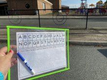 frisbee alphabet activity