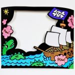 Pirate Themed Coloring Craft – Velvet Art Frame