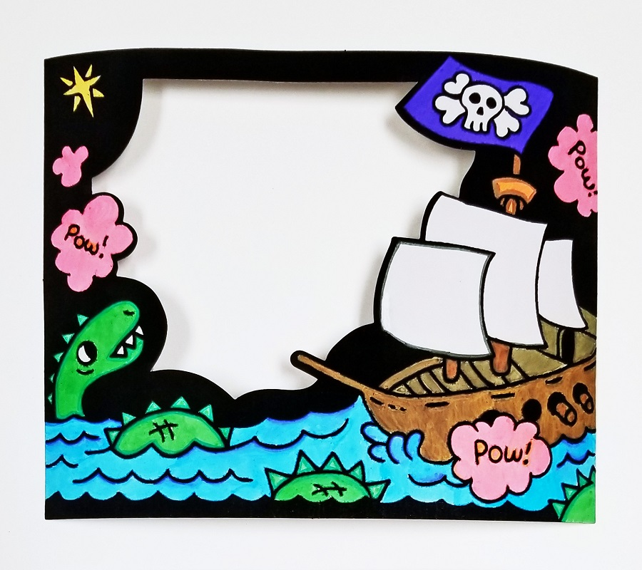 pirate frame coloring craft