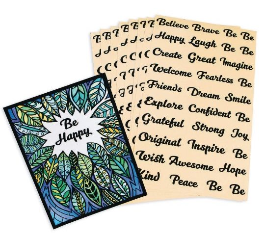 velvet positive word stickers