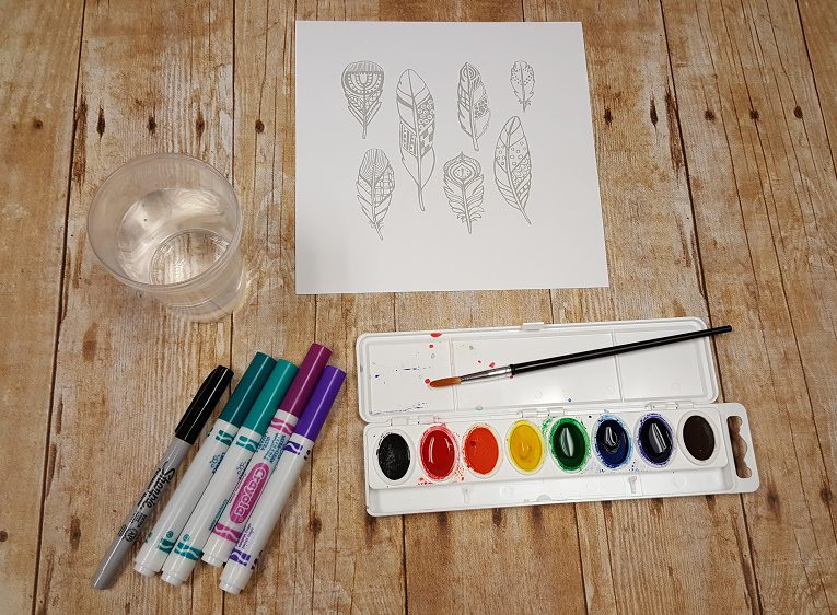watercolor art starters feathers